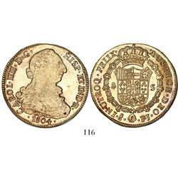 Santiago, Chile, bust 8 escudos, Charles IV (bust of Charles III), 1804FJ.