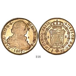 Santiago, Chile, bust 8 escudos, Charles IV (bust of Charles III), 1807FJ.