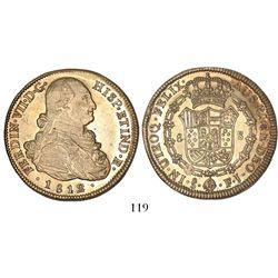 Santiago, Chile, bust 8 escudos, Ferdinand VII (bust of Charles IV), 1812FJ.