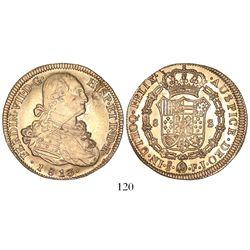 Santiago, Chile, bust 8 escudos, Ferdinand VII (bust of Charles IV), 1813FJ.