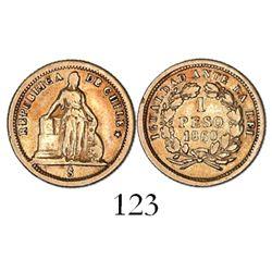 Santiago, Chile, 1 peso, 1860.