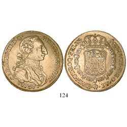 Bogota, Colombia, bust 8 escudos, Charles III (young bust), 1767JV, rare.