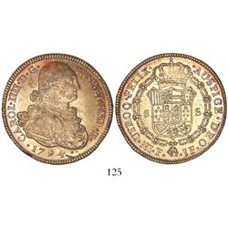 Popayan, Colombia, bust 8 escudos, Charles IV, 1794JF.