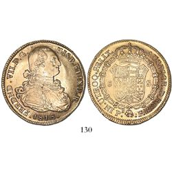 Popayan, Colombia, bust 8 escudos, Ferdinand VII (bust of Charles IV), 1816FR, mintmark P.N., no dot