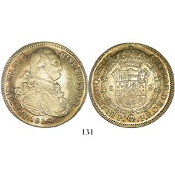 Popayan, Colombia, bust 8 escudos, Ferdinand VII (bust of Charles IV), 1816/6FR, mintmark P.N, no do