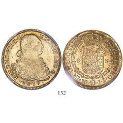 Bogota, Colombia, bust 8 escudos, Ferdinand VII (bust of Charles IV), 1819/8JF, very rare (unlisted)