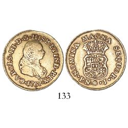 Popayan, Colombia, bust 2 escudos, Charles III (bust of Ferdinand VI), 1767J, mintmark P.N.