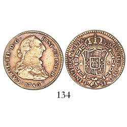 Popayan, Colombia, bust 2 escudos, Charles III, 1780/9SF (not 80/79), rare.