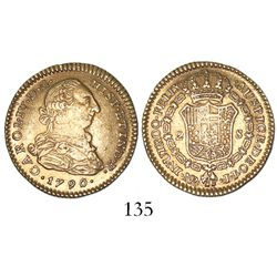 Bogota, Colombia, bust 2 escudos, Charles IV transitional (bust of Charles III, ordinal IV), 1790/89