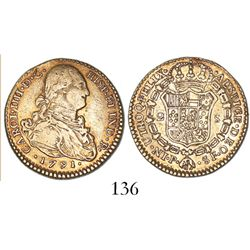 Popayan, Colombia, bust 2 escudos, Charles IV, 1791SF.