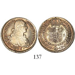 Popayan, Colombia, bust 2 escudos, Charles IV, 1795JF.