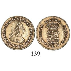 Popayan, Colombia, bust 1 escudo, Charles III (bust of Ferdinand VI), 1767J, mintmark P.N.