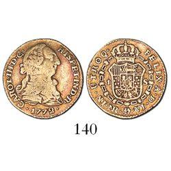 Bogota, Colombia, bust 1 escudo, Charles III, 1772VJ.