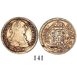 Popayan, Colombia, bust 1 escudo, Charles IV transitional (bust of Charles III, ordinal IV over III)