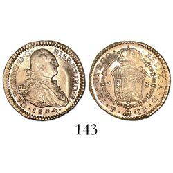 Popayan, Colombia, bust 1 escudo, Charles IV, 1804JF.