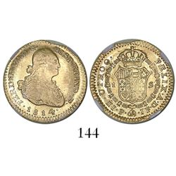 Popayan, Colombia, bust 1 escudo, Ferdinand VII (bust of Charles IV), 1814/3JF, encapsulated NGC AU