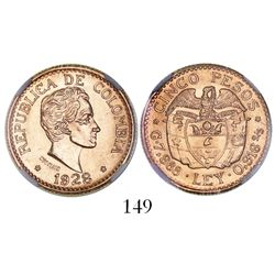 Medellin, Colombia, 5 pesos, 1928, encapsulated NGC MS 65.