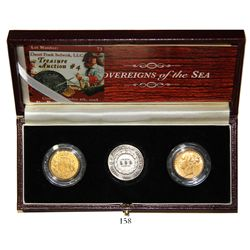 Lot of 2 Great Britain gold sovereigns (1852 and 1876) and 1 Brazilian silver 500 reis (1860) from t