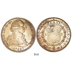 Mexico City, Mexico, bust 8 escudos, Charles III, 1788FM, mintmark and assayer facing inward.