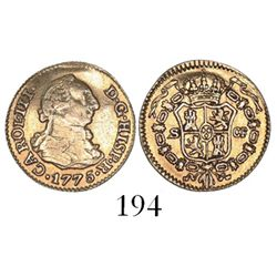 Seville, Spain, bust 1/2 escudo, Charles III, 1775CF.
