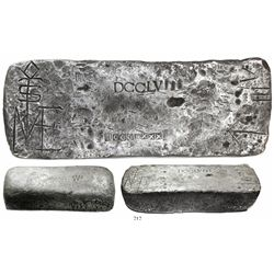Large silver bar #668, 80 lb 9.6 oz troy, Class Factor 1.0, from the Atocha (1622).