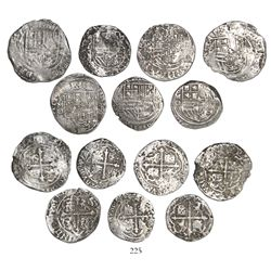 Lot of 7 Mexico City, Mexico, cob 4R (4) and 2R (3), Philip II, assayer O (where visible).