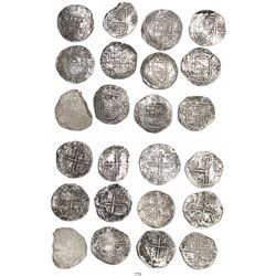 Lot of 12 Seville, Spain, cob 8 reales, Philip II, assayer Gothic D (where visible).