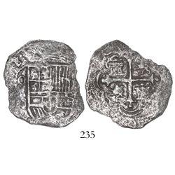 Mexico City, Mexico, cob 4 reales, (161)8/7D/F, Grade 2, very rare.