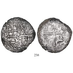 Potosi, Bolivia, cob 8 reales, Philip II, assayer B (5th period), Grade-1 quality (22 points on cert