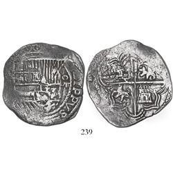 Potosi, Bolivia, cob 8 reales, Philip II, assayer not visible (5th-period B), borders of x's, Grade
