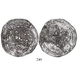 Potosi, Bolivia, cob 8 reales, Philip II, assayer B (5th period), borders of x's, Grade 2.
