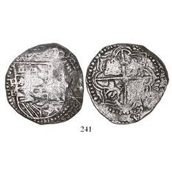 Potosi, Bolivia, cob 8 reales, Philip II, assayer B (5th period), Grade 2.