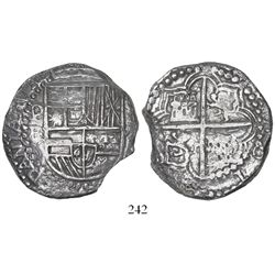 Potosi, Bolivia, cob 8 reales, Philip III, assayer R (curved leg), Grade 1, with tag but original ce