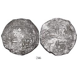Potosi, Bolivia, cob 8 reales, Philip III, assayer Q, Grade 2, with tag but original certificate mis