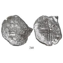 "Potosi, Bolivia, cob 8 reales, (161)7M, Grade 2 (""20 points"")."
