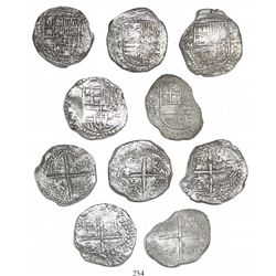 Lot of 5 Potosi, Bolivia, cob 8 reales, Philip III, assayers Q, M and T (where visible), Grade 1.