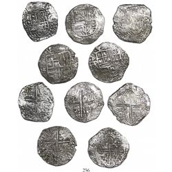 Lot of 5 Potosi, Bolivia, cob 8 reales, Philip III, assayers R (curved leg) and T (where visible), G