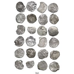 Lot of 12 Potosi, Bolivia, cob 8 reales, Philip III, various assayers (where visible), all Grade 3.