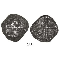 "Potosi, Bolivia, cob 4 reales, Philip III, assayer not visible, ""9 points"" (Grade 3?), with old, han"
