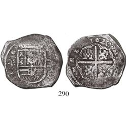 Seville, Spain, cob 4 reales, 1620G, unique as struck from 2R dies.