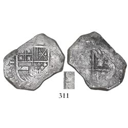 Cartagena, Colombia, cob 4 reales, Philip IV, assayer E, C+E to right (1630s), rare.