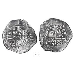 Potosi, Bolivia, cob 8 reales, (16)50O, with crowned-dot-F-dot countermark on shield.