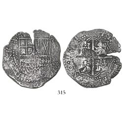 Potosi, Bolivia, cob 8 reales, 1651E, with crowned-O countermark on cross.