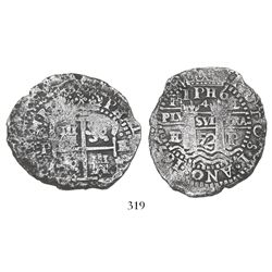 Potosi, Bolivia, cob 8 reales, 1652E post-transitional (Type VIII/B), rare error with pillars side s