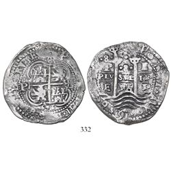 Potosi, Bolivia, cob 8 reales Royal, 1656E, PH at top, rare.