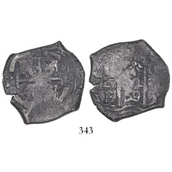 Potosi, Bolivia, cob 4 reales, 1669E, ex-Bir collection.