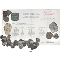 """Large lot of 47 Mexican silver cobs (8, 4, 2, 1 and 1/2R), all uncleaned (some encrusted), with """"par"""