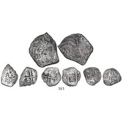 Lot of 4 silver-cob minors, various mints, as follows: Mexico, 4R and 1R, Philip V, assayer J; Lima,