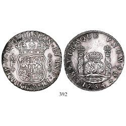 Mexico City, Mexico, pillar 8 reales, Philip V, 1734/3MF, rare.
