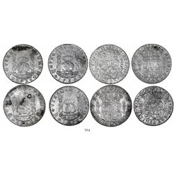 Lot of 4 Mexico City, Mexico, pillar 8 reales, Philip V, dated 1736MF (3) and 1738MF (1).